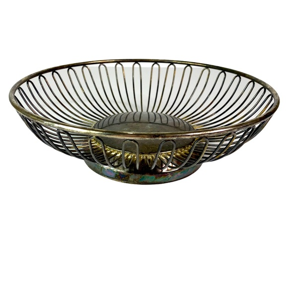 Vintage Silver Plated Wire Circular Basket Bowl